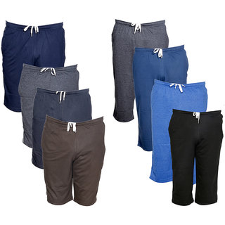 IndiWeaves Mens 1 Cotton 3/4 Capri and 1 Shorts/Barmuda Combo Offer (Pack of 2)_Multiple_Size:-32