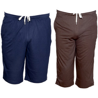 IndiWeaves Mens 1 Cotton 3/4 Capri and 1 Shorts/Barmuda Combo Offer (Pack of 2)_Blue::Brown_Size:-32