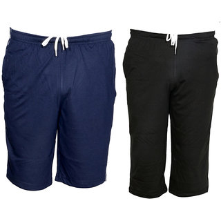 IndiWeaves Mens 1 Cotton 3/4 Capri and 1 Shorts/Barmuda Combo Offer (Pack of 2)_Blue::Black_Size:-32