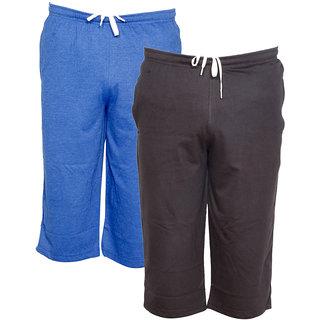 IndiWeaves Men's Regular Fit Casual Capri (Pack of-2)_Blue::Brown _Size-32