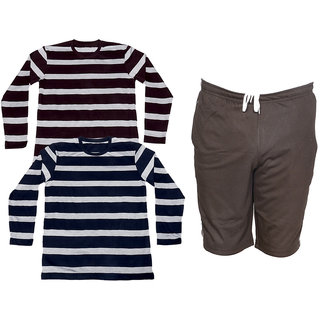 IndiWeaves Mens 2 Cotton Full Sleeves T-Shirt and 1 Shorts/Barmuda Combo Offer (Pack of 3)_Brown::Blue::Brown_Size-M, Shorts- Free Size