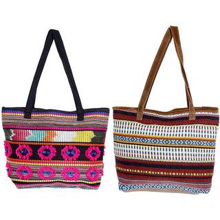 IndiWeaves Womens Handmade Ethnic Self Design Jacquard Hand Bag (Pack of 2)