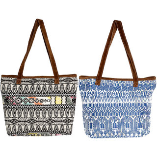 IndiWeaves Womens Handmade Ethnic Self Design Jacquard Hand Bag (Pack of 2)