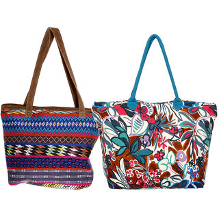 IndiWeaves Women Handmade Tote Bag Combo Offer (1 Self Design Jacquard and 1 Canvas  Printed) (Pack of-2)