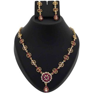 b5ccf4b32 Kriaa by JewelMaze Pink Austrian Stone Floral Design Gold Plated Necklace  Set -PAA0031