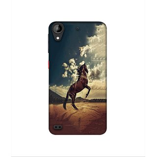 Casotec Rising Horse Design 3D Printed Hard Back Case Cover for HTC Desire 630