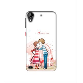 Casotec Boy Kissing Girl Design 3D Printed Hard Back Case Cover for HTC Desire 630