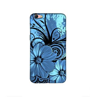 Casotec Cute Floral Blue Design 3D Printed Hard Back Case Cover for Oppo R9s Plus