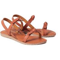 Gnist Women's Knotty Greek Tan Slip On Sandals