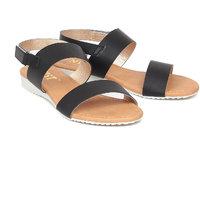 Gnist Women's Sling Black Solid Black Velcro Sandals