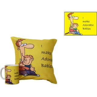 meSleep Adorable Dad Mug & Adorable Dad Cushion Cover & Coaster