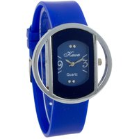 shree Kawa Blue Color Strap And Dial With Circular Silver Case Watch For Women