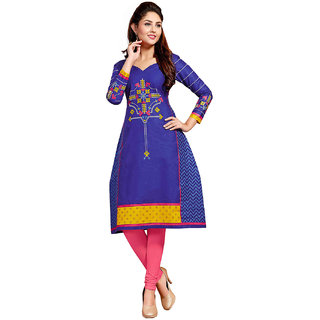 Jevi Prints Blue Printed Unstitched Cotton Kurti