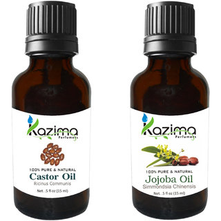 Combo Set of Castor Arandi Oil and Jojoba Carrier oil ( Each Products 15ml ) Ideal for use in Hair loss Treatment