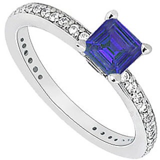 14K White Gold Princess Cut Sapphire Diamond Engagement Ring 0.60 CT TGW