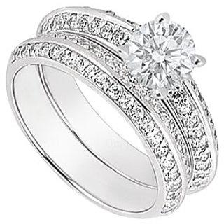 14K White Gold Diamond Engagement Ring With Wedding Band Sets 1.00 CT TDW