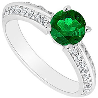 14K White Gold Emerald Diamond Engagement Ring 0.75 CT TGW