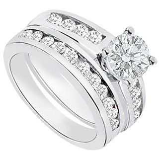 Diamond Engagement Ring With Wedding Band Sets 1.15 CT TDW Option 3