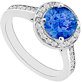 Sapphire And Diamond Engagement Ring 14K White Gold 0.80 CT TGW (Option - 5)