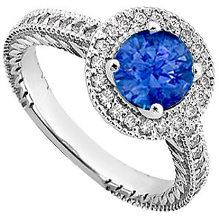 Sapphire And Diamond Engagement Ring 14K White Gold 0.85 CT TGW (Option - 6)