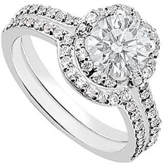 14K White Gold Diamond Engagement Ring With Wedding Band Sets 1.10 CT TDW