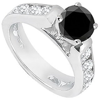 Black White Diamond Engagement Ring 14K White Gold 1.10 CT TDW (Option - 2)