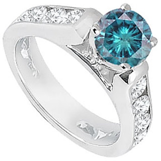 Blue White Diamond Engagement Ring 14K White Gold 1.10 CT TDW (Option - 2)