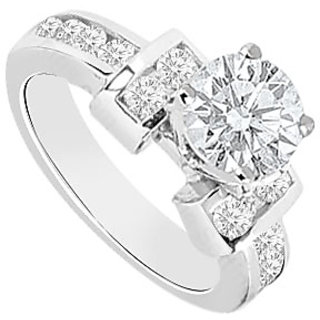 Diamond Engagement Ring 14K White Gold 0.85 CT TDW (Option - 3)