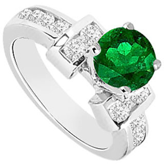 Emerald And Diamond Engagement Ring 14K White Gold 0.85 CT TGW (Option - 2)