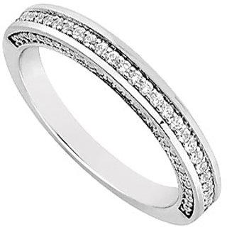 Diamond Wedding Band 14K White Gold 0.30 CT Diamonds