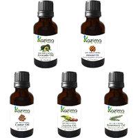 Combo Of Jojoba Oil, Almond Oil, Castor Oil, Avocado Oil, Rosemary Oil For Promotes Hair  Beard Growth, Hair Loss