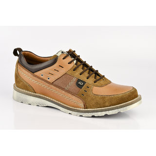 ID Men's Tan & Brown Lace Up Casual Shoes