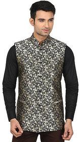 QDesigns Beige Plain Slim Nehru Jacket for Men