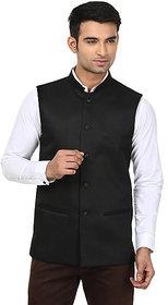 QDesigns Black Plain Slim Nehru Jacket for Men