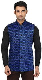 QDesigns Blue Plain Slim Nehru Jacket for Men