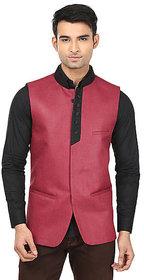 QDesigns Red Plain Slim Nehru Jacket for Men