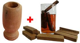 Combo of 1 Vijaysar Herbal Wood Tumbler and 20 Pcs of Herbal Wood Blocks