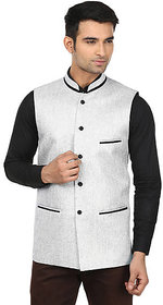 QDesigns Gray Plain Slim Nehru Jacket for Men