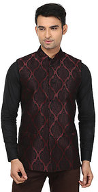QDesigns Maroon Plain Slim Nehru Jacket for Men