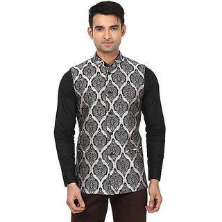 QDesigns Beige Plain Slim Nehru Jacket for Men