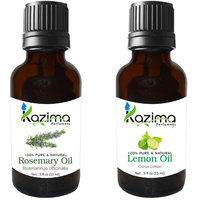 Combo Set Of Rosemary Oil And Lemon Essential Oil (For Hair Loss Treatment, Promotes Hair Growth, Skin, ACNE)