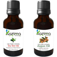 Combo Set Of Argan Cold Pressed Carrier Oil And Tea Tree Essential Oil (For Hair Loss Treatment, Promotes Hair Growth)
