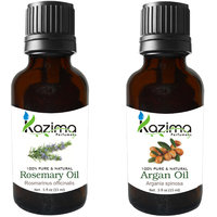 Argan Cold Pressed Carrier Oil And Rosemary Essential Oil (For Hair Loss Treatment, Promotes Hair Growth, Skin, ACNE)