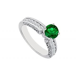 Emerald And Diamond Engagement Ring 14K White Gold 0.75 CT TGW (Option - 2)