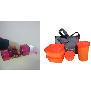 Dumbbell water bottle with Free Topware lunch box