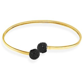 Love Universe Rhodium Plated Yellow Sterling Silver Bangle For Women-GF17103