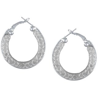 Tichino Rhodium Plated White Brass & Copper Earring For Women-EF28238