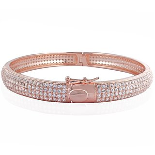 Lucera Rhodium Plated Pink Sterling Silver Bangle For Women-GF21795P