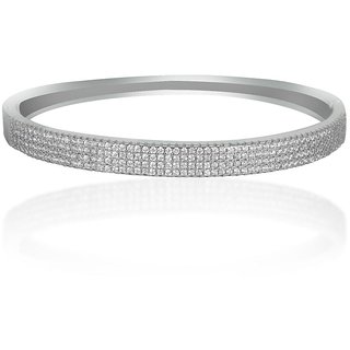 Lucera Rhodium Plated White Sterling Silver Bangle For Women-GF21971W