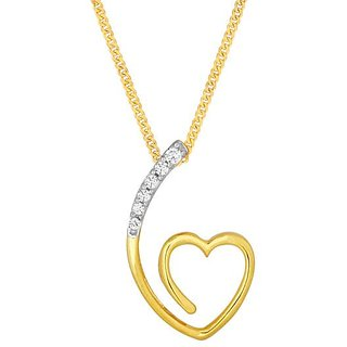 Lucera Rhodium Plated YellowSterling Silver Pendant  For Women-PF8413